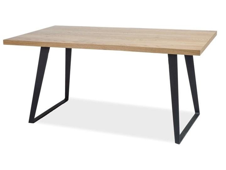 SELSEY Stół Sages 150x90 z litego drewna Drewno Szerokość 90 cm Kształt blatu Prostokątny Wysokość 77 cm Metal Długość 150 cm  Pomieszczenie Stoły do jadalni