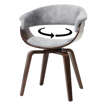 SELSEY Krzesło tapicerowane Asarlo szary welur na orzechowych nogach