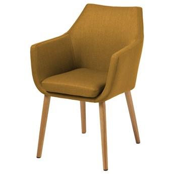 SELSEY Krzesło tapicerowane z podłokietnikami Marcelio musztardowe