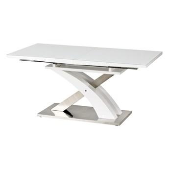 SELSEY Stół rozkładany Reinosa 160-220x90 cm biały ze szklanym blatem