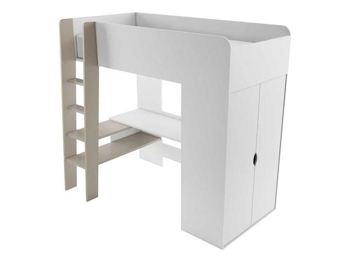 SELSEY Łóżko piętrowe Darkals z szafą i biurkiem Łóżko piętrowe z biurkiem Rozmiar materaca 120x200 cm