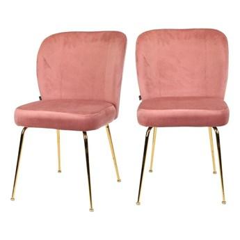 SELSEY Zestaw dwóch krzeseł tapicerowanych Alruba różowe na złotych nogach