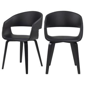 SELSEY Zestaw dwóch krzeseł tapicerowanych Drokan ekoskóra na dębowej podstawie czarne