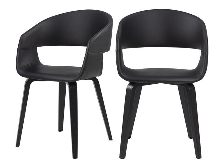 SELSEY Zestaw dwóch krzeseł tapicerowanych Drokan ekoskóra na dębowej podstawie czarne Tapicerowane Kolor Czarny Płyta MDF Drewno Tkanina Skóra ekologiczna Styl Industrialny