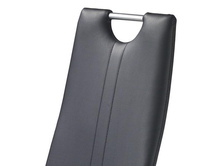 SELSEY Krzesło tapicerowane Gradna czarne Tkanina Metal Stal Skóra ekologiczna Kolor Czarny Styl Klasyczny
