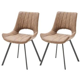 SELSEY Zestaw dwóch krzeseł tapicerowanych Gloriosa cappuccino