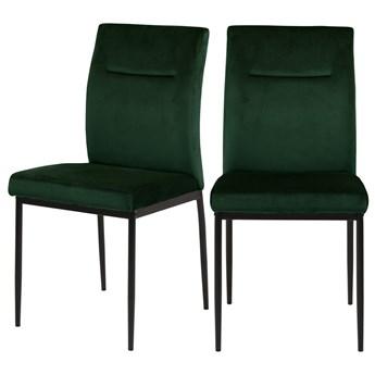 SELSEY Zestaw dwóch krzeseł tapicerowanych Todiar ciemnozielone