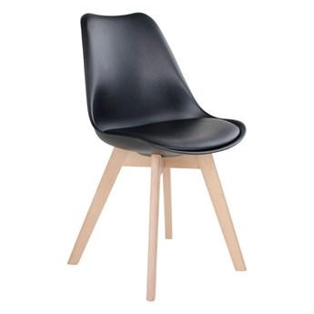 SELSEY Zestaw dwóch krzeseł tapicerowanych Caddelm czarne na drewnianych nogach