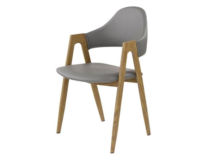 SELSEY Krzesło tapicerowane Sherris popielate - dąb miodowy