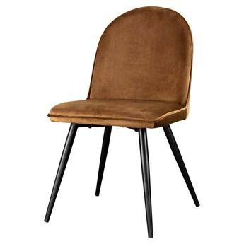 SELSEY Krzesło Tony miedziane na czarnych nogach ze stali