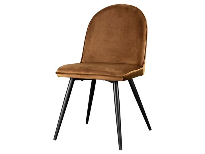 SELSEY Krzesło Tony miedziane na czarnych nogach ze stali Tkanina Tapicerowane Metal Kategoria Krzesła kuchenne