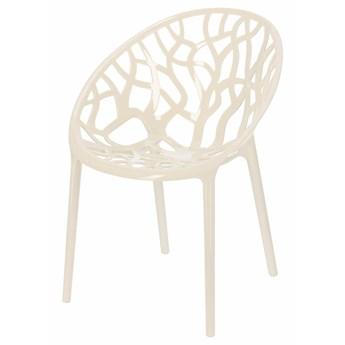 SELSEY Krzesło z tworzywa Kingsly w kolorze kości słoniowej