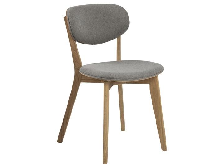 SELSEY Zestaw dwóch krzeseł drewnianych Alitas jasnoszare Tapicerowane Tkanina Drewno Styl Klasyczny