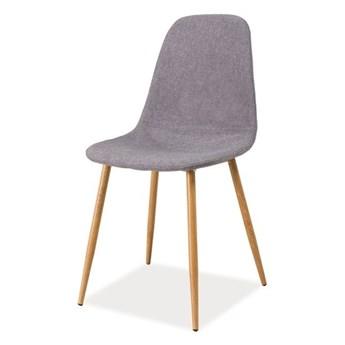 SELSEY Krzesło tapicerowane Arriba szare - dąb