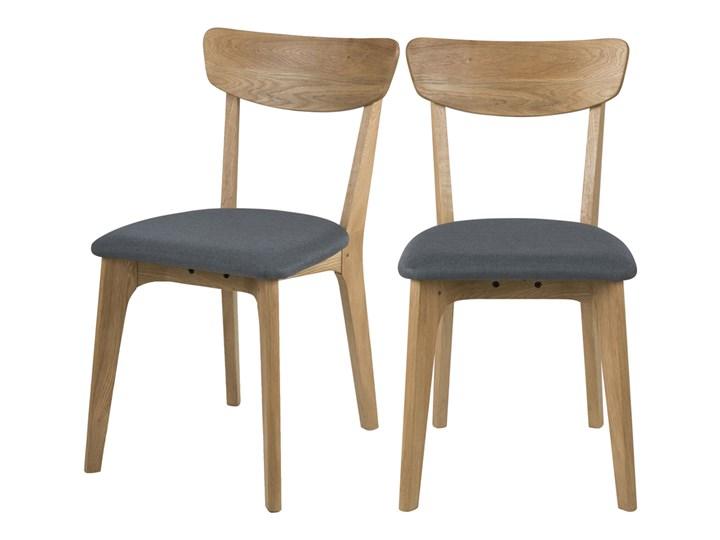 SELSEY Zestaw dwóch krzeseł Taxi ciemnoszare Tkanina Drewno Tapicerowane Pomieszczenie Jadalnia