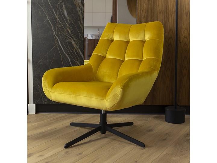 SELSEY Fotel obrotowy Sherley żółty Metal Fotel pikowany Tkanina Pomieszczenie Salon