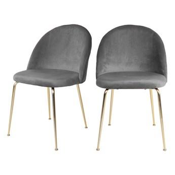 SELSEY Zestaw dwóch krzeseł tapicerowanych Rallsy szare na złotej podstawie