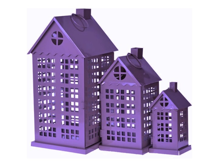 SELSEY Komplet trzech latarenek City Kategoria Świeczniki i świece Lampion Kolor Fioletowy
