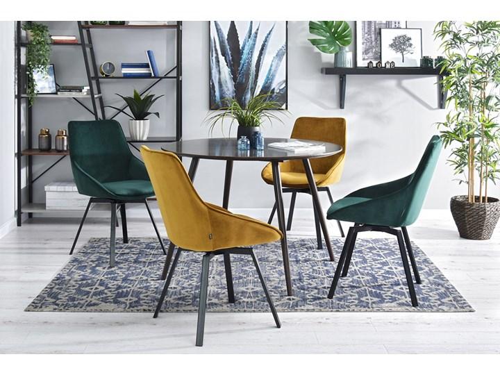 SELSEY Krzesło tapicerowane Yanii z podłokietnikami złote na czarnej podstawie Metal Tkanina Krzesło inspirowane Z podłokietnikiem Pomieszczenie Biuro i pracownia