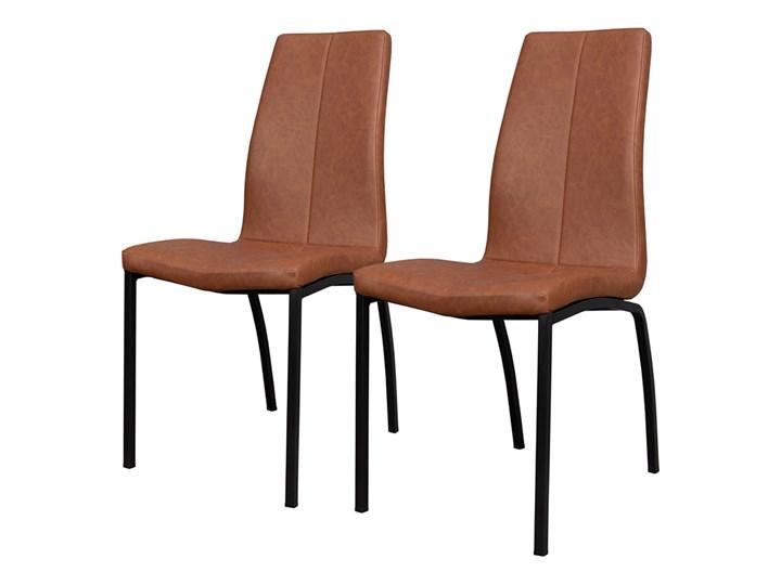SELSEY Zestaw dwóch krzeseł tapicerowanych Zagorac brązowe Skóra Metal Tapicerowane Skóra ekologiczna Pomieszczenie Jadalnia Tkanina Kolor Brązowy