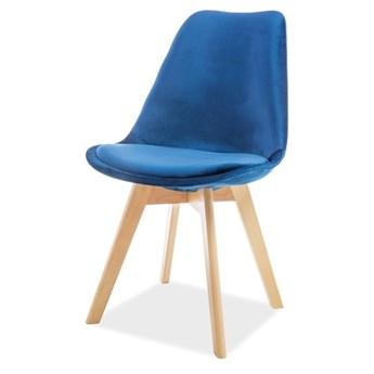 SELSEY Krzesło tapicerowane Lucilin granatowe - buk velvet