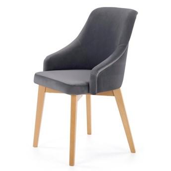 SELSEY Krzesło tapicerowane Berlas ciemnoszary velvet - dąb miodowy