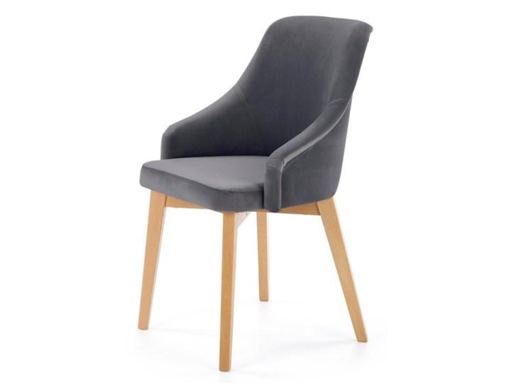 SELSEY Krzesło tapicerowane Berlas ciemnoszary velvet - dąb miodowy Drewno Tkanina Kategoria Krzesła kuchenne
