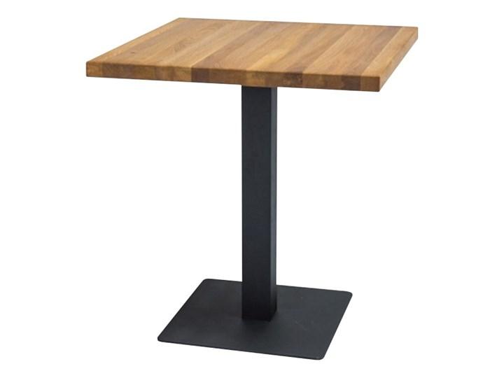 SELSEY Stół Divock 70x70 cm z litego drewna dębowego Rozkładanie Drewno Wysokość 76 cm Metal Styl Industrialny