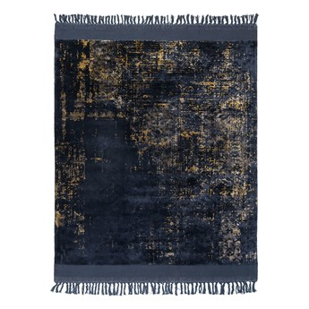 SELSEY Dywan nowoczesny Rijl czarno złoty z frędzlami