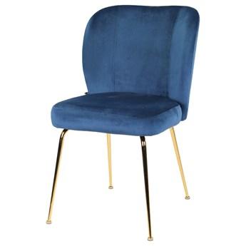 SELSEY Krzesło tapicerowane Alruba granatowy na złotych nogach