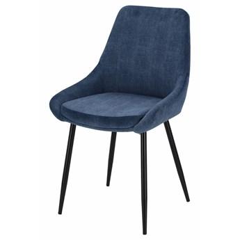 SELSEY Krzesło tapicerowane Gerhardus niebieski sztruks na czarnych nogach