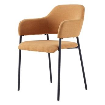 SELSEY Zestaw dwóch krzeseł tapicerowanych z podłokietnikami Azhai musztardowe