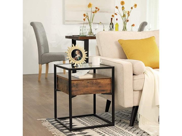 SELSEY Stolik kawowy z szufladą Ramizu 43x43 cm Szkło Metal Wysokość 54 cm Drewno Kategoria Stoliki i ławy