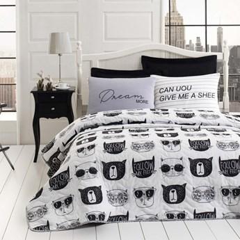 SELSEY Narzuta Monochrome Cats 160x220 cm z poszewką na poduszkę 50x70 cm