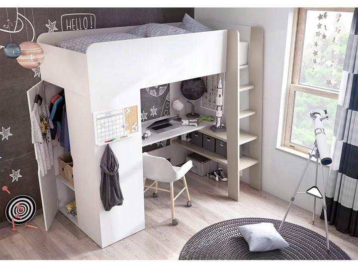 SELSEY Łóżko piętrowe Darkals z szafą i biurkiem Kolor Biały Łóżko piętrowe z biurkiem Kategoria Łóżka dla dzieci