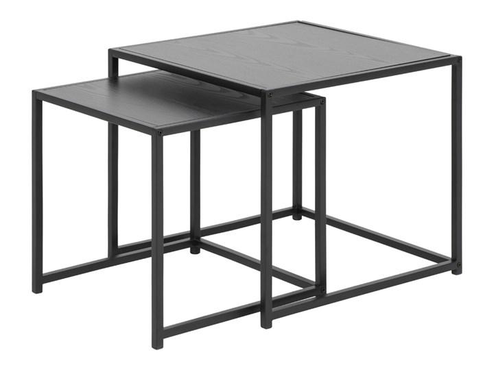 SELSEY Zestaw dwóch stolików kawowych Krapina 50x50 cm i 45x45 cm szare Metal Zestaw stolików Styl Industrialny Płyta MDF Kolor Czarny