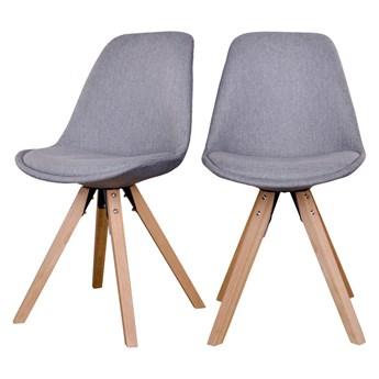 SELSEY Zestaw dwóch krzeseł tapicerowanych Umbreta jasnoszare na drewnianej podstawie