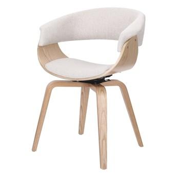 SELSEY Krzesło tapicerowane Asarlo beżowe na klonowych nogach
