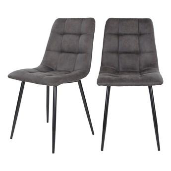SELSEY Zestaw dwóch krzeseł tapicerowanych Kirme ciemnoszare