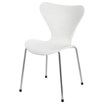 SELSEY Krzesło z tworzywa Mikaelie białe na chromowanych nogach