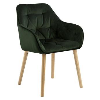 SELSEY Zestaw dwóch krzeseł tapicerowanych z podłokietnikami Agamos zielony welur na drewnianych nóżkach