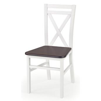 SELSEY Krzesło Milares białe - ciemny orzech