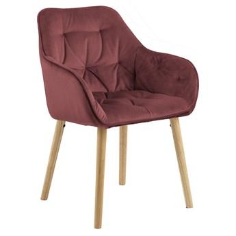 SELSEY Zestaw dwóch krzeseł tapicerowanych z podłokietnikami Agamos koralowy welur na drewnianych nóżkach