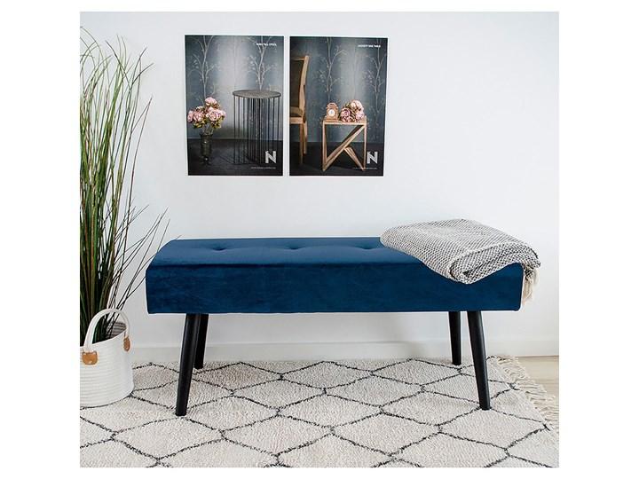 SELSEY Ławka tapicerowana Belicer 100x35 cm niebieski velvet Pikowana Pomieszczenie Sypialnia Pomieszczenie Przedpokój
