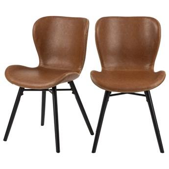 SELSEY Zestaw dwóch krzeseł tapicerowanych Glena brązowe z ekoskóry na czarnych nóżkach