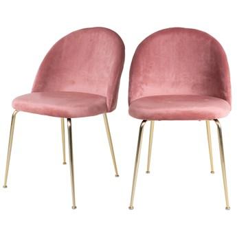SELSEY Zestaw dwóch krzeseł tapicerowanych Rallsy różowe na złotej podstawie