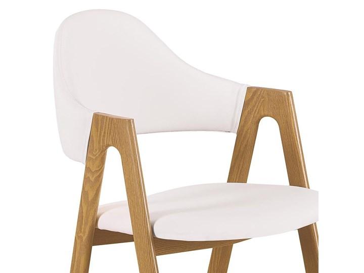 SELSEY Krzesło tapicerowane Sherris białe - dąb miodowy Drewno Skóra ekologiczna Tkanina Kategoria Krzesła kuchenne Metal Pomieszczenie Jadalnia