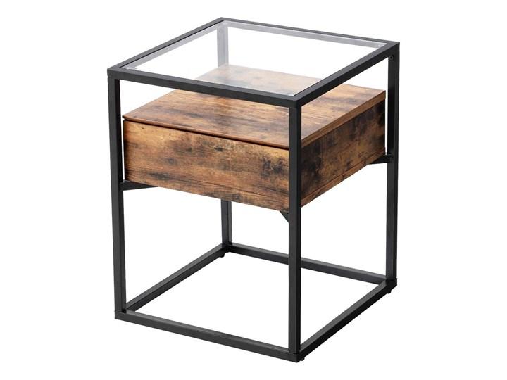 SELSEY Stolik kawowy z szufladą Ramizu 43x43 cm Szkło Metal Wysokość 54 cm Drewno Kształt blatu Kwadratowe