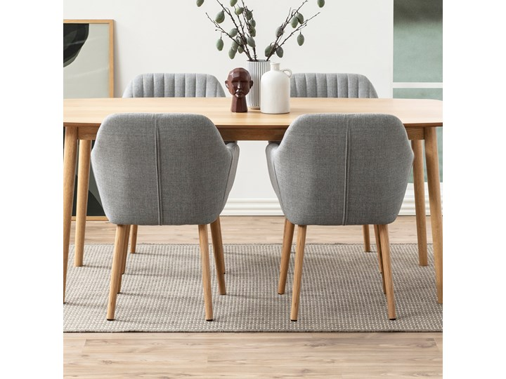 SELSEY Krzesło tapicerowane Enyf szare jasne na drewnianych nogach Styl Klasyczny Drewno Tkanina Styl Glamour