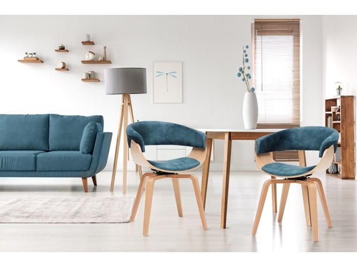 SELSEY Krzesło tapicerowane Asarlo niebieski welur na klonowych nogach Tkanina Płyta MDF Drewno Styl Klasyczny Kategoria Krzesła kuchenne